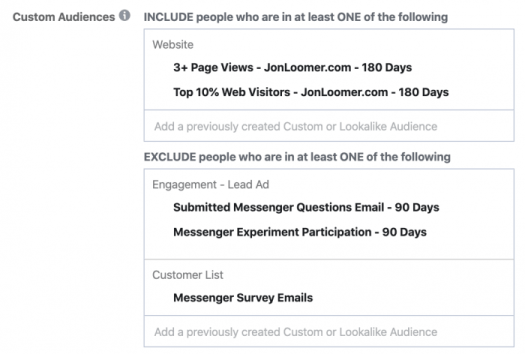 Facebook Messenger Ad Survey Targeting