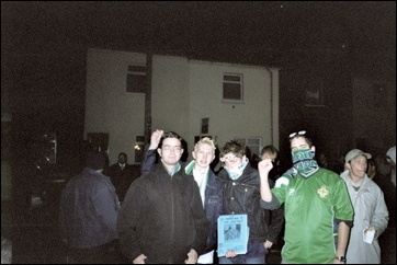 Selling fanzines at Windsor Park in Belfast in 2002. A 0-0 draw with Ukraine.
