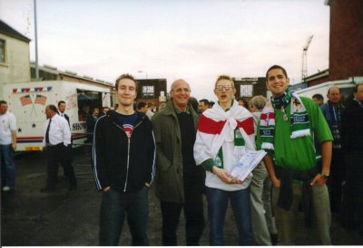 Selling fanzines at Windsor Park in Belfast at the Spain match in 2003. We drew 0-0.