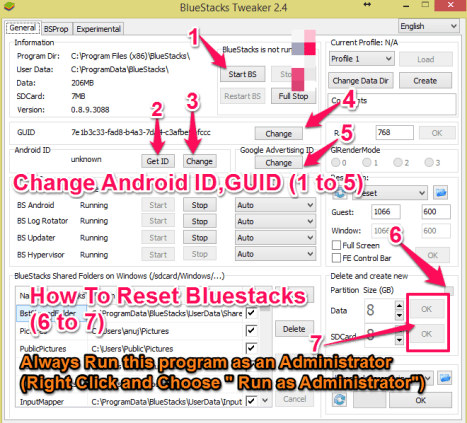 bluestacks reset and change id