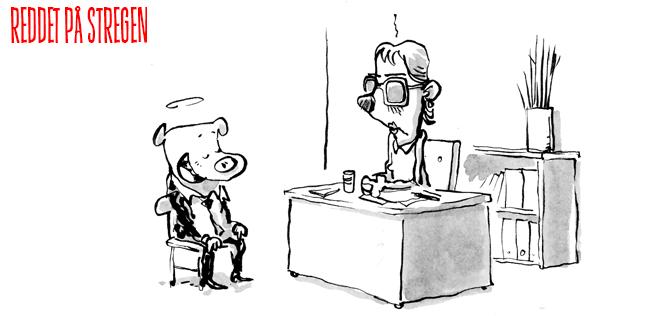 ærlighed og jobsamtaler. Selvbedrag. Reddet på Stregen er en webcomic af Jon Skræntskov