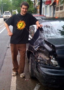 Jon and his poor wrecked car.