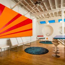 Brightly colored pop art style kitchen in downtown Los Angeles