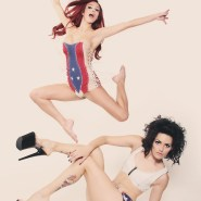 Models in red, white and blue denim by Junker Designs