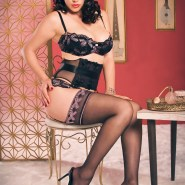 Retro brunette model in black lingerie