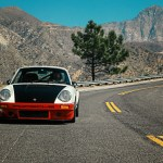 White Porsche 911 driven by Magnus Walker on the Angeles Crest highway in Los Angeles,CA.