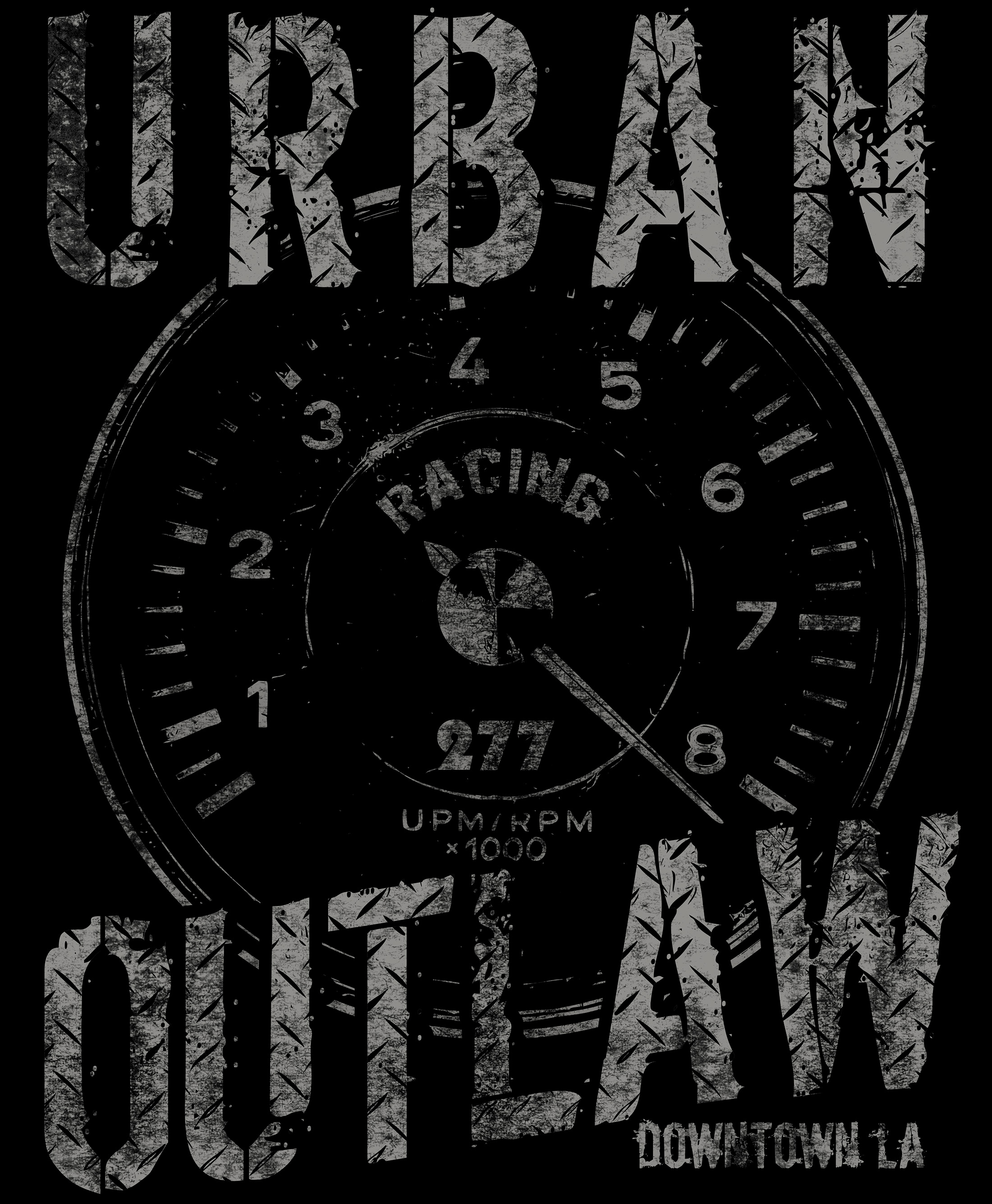 Urban Outlaw Porsche Racing Rev Counter one color T-shirt Design