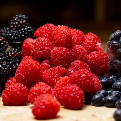 Close-up of Raspberries and blueberries