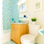 bright colored vintage bathroom real estate photography