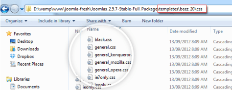 Without Less, Joomla 2.5 uses CSS to style