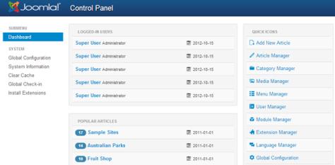 Joomla 3.0 dashboard