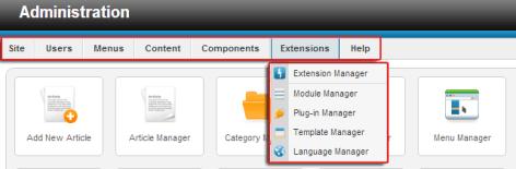 The Joomla 2.5 main menu