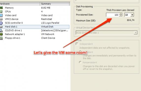 Resizing the disk space on Ubuntu Server VMs running on VMware ESXi 5