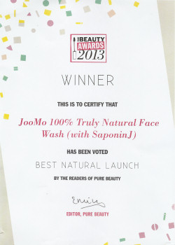 Best Natural Launch Certificate - Pure Beauty Awards 2013. Best Natural Launch Certificate