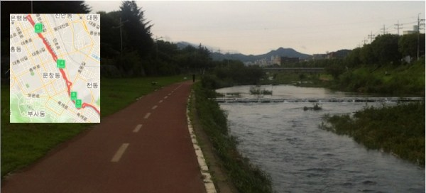 Ran 11km until the 대전천. (new Daejeon bridge)
