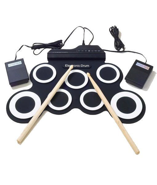Professional-7-Pads-Portable-Digital-USB-Roll-up-Foldable-Silicone-Electronic-Drum-Pad-Kit-With