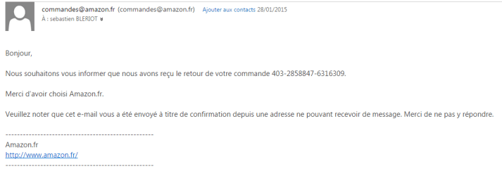 e-mail confirmation retour produit amazon