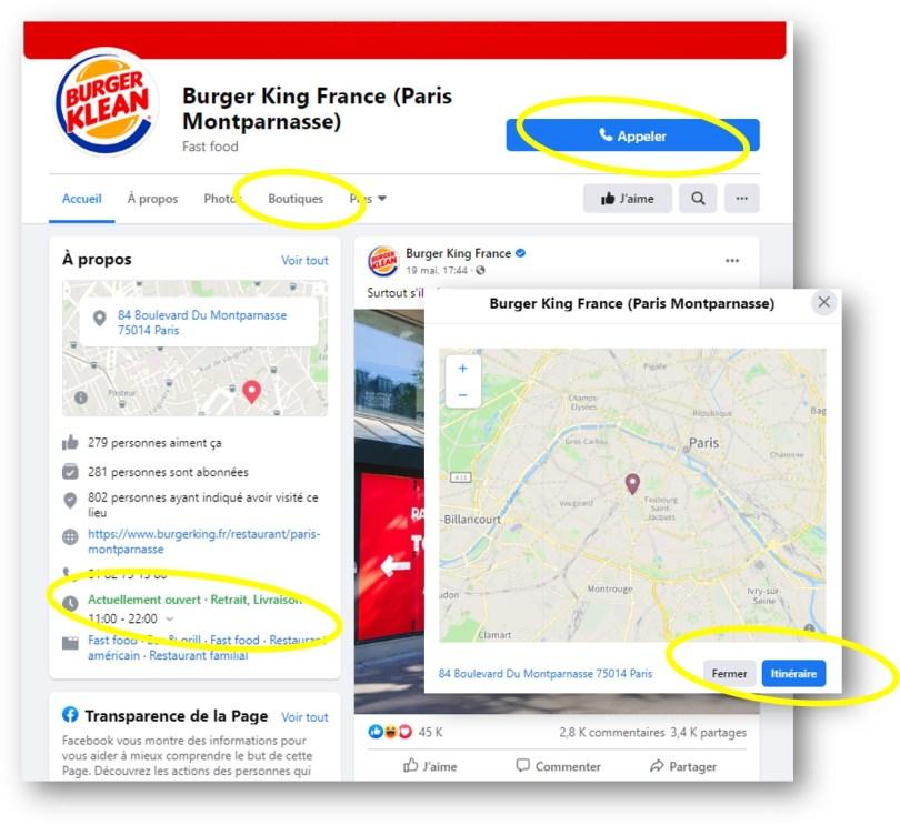 exemple d'une page locale Burger King sur Facebook avec les extensions solomo