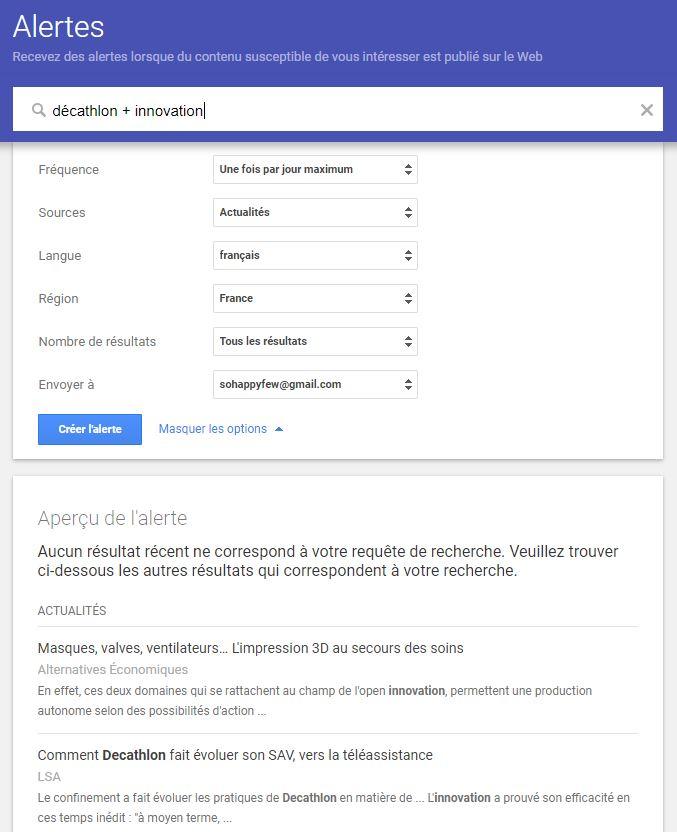 test de Google Alertes