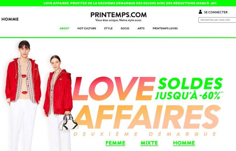 exemple home page soldes sur Printemps