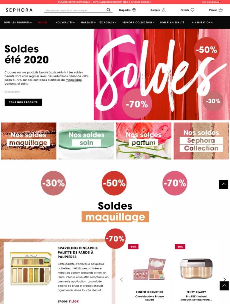 page d'atterissage soldes de Sephora