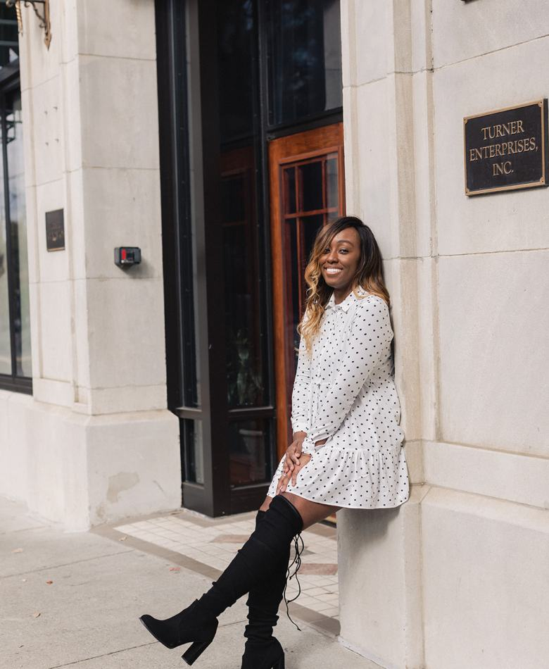 Jordan Taylor C - 6 Free Apps that EVERY Blogger Needs, black woman in white polka dot dress and stuart weitzman over the knee leaning against a wall