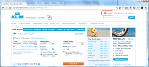 The KLM website, with the language changed to Swedish - English