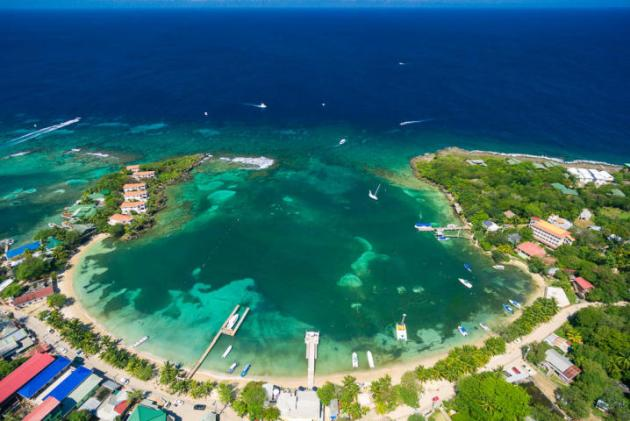 Aerial of Half Moon Bay, West End Roatan MLS 16-128