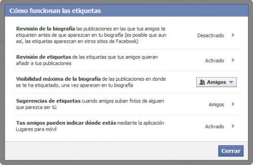 Facebook etiquetas configuración
