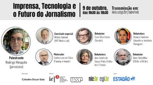 """Seminário """"Imprensa, tecnologia e o futuro do jornalismo"""" nesta sexta- feira (09/10) no Youtube"""