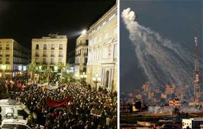 Las manifestaciones contra el incesante ataque a la ciudad de Gaza continúan con intensidad, como la protesta realizada ayer en Barcelona. La infanteria y la artilleria móvil dividieron el territorio palestino en dos para incomunicar a la población. La ONU fracasó en el intento de que se declare un cese del fuego en esa región Fotos Reuters