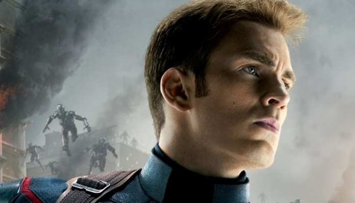 Imagem de Chris Evans como o capitão América em Vingadores