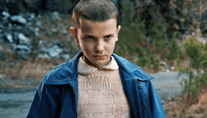 Millie Bobby Brown como Eleven em Stranger Things