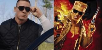 Imagem de John Cena e do Duke Nukem, personagem que ele viverá nos cinemas