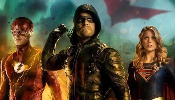 Imagem do crossover 2018 com The Flash, Arrow e Supergirl