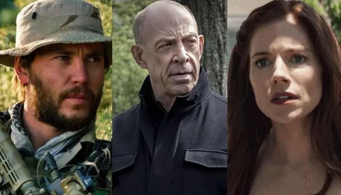 Taylor Kitsch em 'O Grande Herói'; JK Simmons em 'Conterpart'; Sienna Miller em 'Sniper Americano'