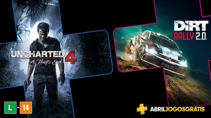 Uncharted 4 e Dirty Rally 2.0 na Playstation Plus