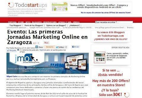 Todostartups.com blog para emprendedores y startups apoya en la difusión de JornadasMarketingOnline.com