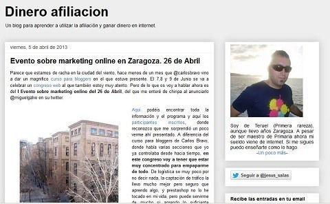 El blog Dinero Afiliación hace hincapié en las Jornadasmarketingonline.com
