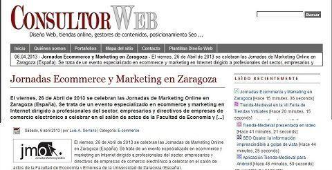 Luis Serrano, consultor web, cita a Jornadasmarketingonline.com en su blog.