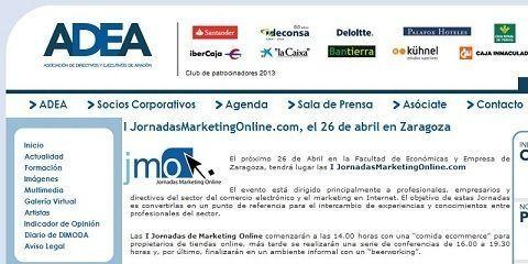 ADEA (Asociacion de Directivos y Empresarios de Aragón) nos cita en su sección de noticias y nos recomienda las JornadasMarketingOnline.com a todos sus socios.