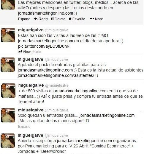 Comunicado de apertura de las JMO en el Twitter de Miguel Galve