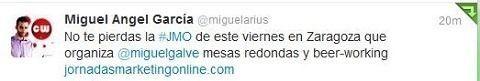 Miguel Angel Garcia Marketing Manager de SocialGag.es y de CongresoWeb recomienda las JornadasMarketingOnline.com en su twitter