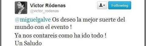 Victor Ródenas nos comunica su apoyo a través de twitter.