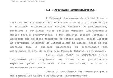 Presidente da FPrA, Rubens Gatti libera eventos de automobilismo no Paraná.