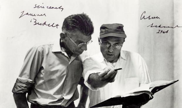 """Samuel Beckett e Alan Schneider: o primeiro roteirizou e orientou e o segundo dirigiu """"Filme"""", nos Estados Unidos, em meados da década de 60"""