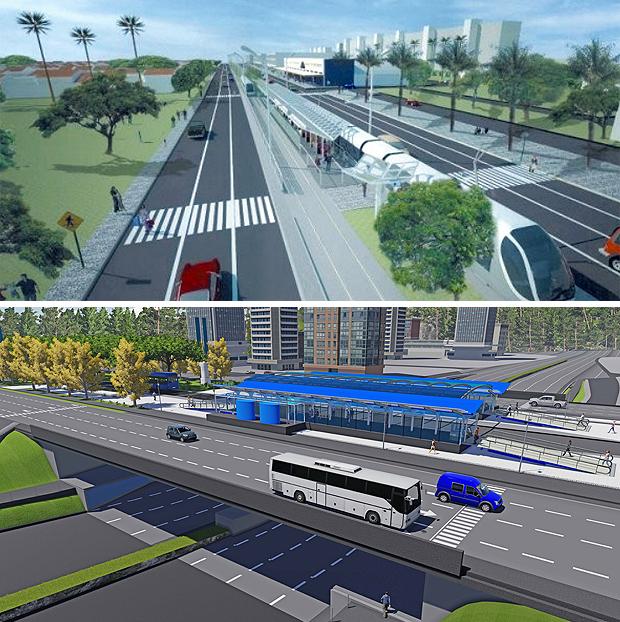Maquetes do BRT (bus rapid transit) de Palmas, que terá os mais avançados recursos, conforme o presidente do Ipup, arquiteto e urbanista Luiz Masaru Hayakawa