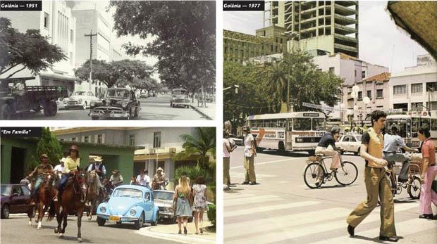 """Fotos mostram a Goiânia real nos anos de 1951 (acima) e 1977 (à dir.), enquanto """"Em Família"""", nos anos 2000, retratou a capital goiana em 1980 como uma espécie de haras"""