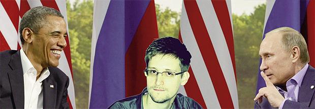 Barack Obama, presidente dos Estados Unidos, e Vladimir Putin, presidente da Rússia: o primeiro quer Edward Snowden (no centro da montagem) preso e o segundo mantém o delator americano como prisioneiro da Rússia | Foto montagem/Jornal Opção