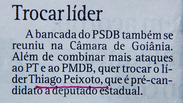 Bomba! Jarbas Rodrigues, da coluna Giro, de O Popular, cassa mandato do deputado Thiago Peixoto e o elege vereador